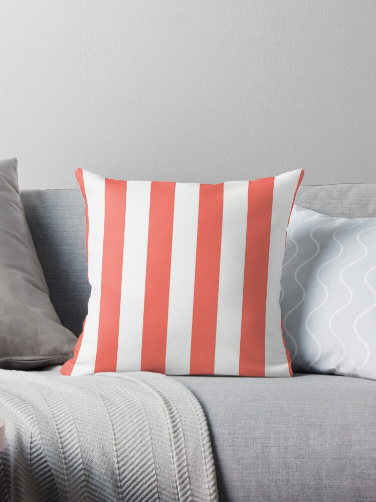 Large Living Coral and White Vertical Cabana Tent Stripes by honorandobey