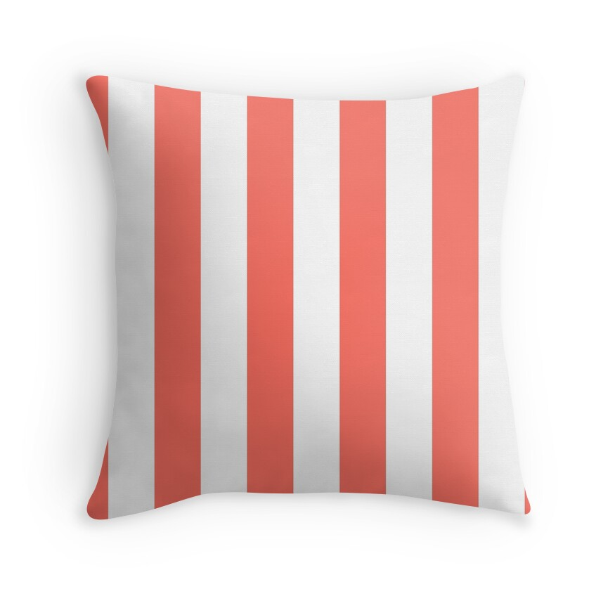 Large Living Coral and White Vertical Cabana Tent Stripes