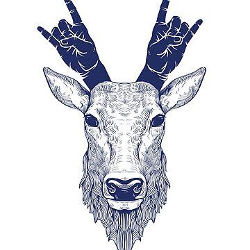 Hipster Shirt Deer Head Hand Horns Rock and Roll Band T-Shirt by LuckyU-Design