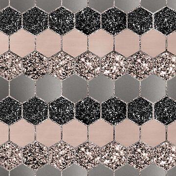 Blush Hexagon Glitter Glam #3 #geometric #decor #art  by anitabellajantz