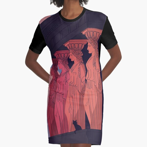 Caryatids at Dusk Graphic T-Shirt Dress