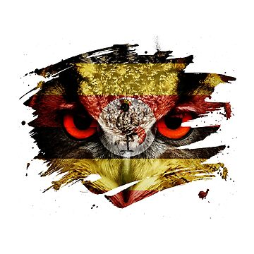 Uganda Flag and Menacing Owl by ockshirts