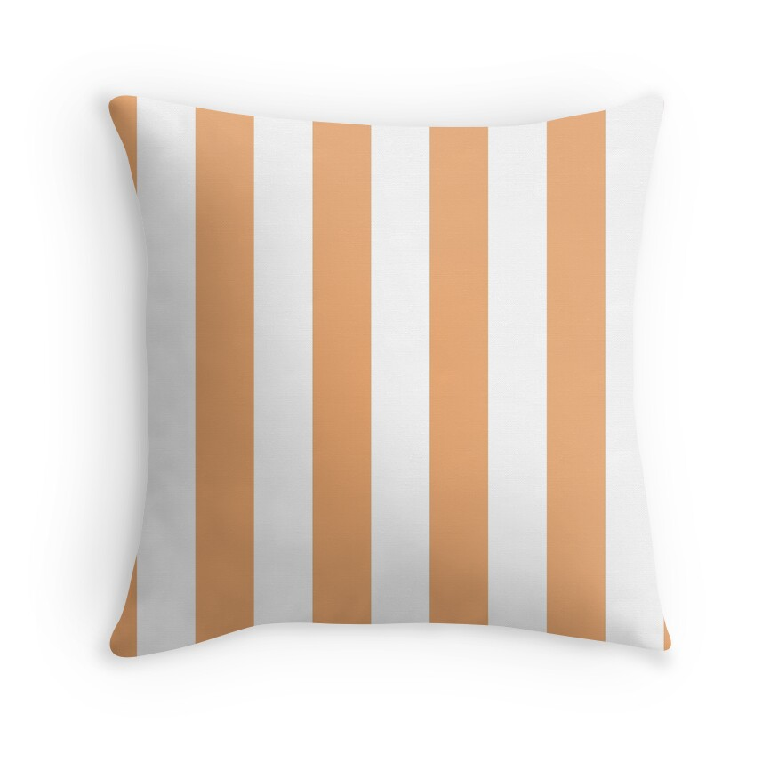 Apricot Nectar and White Vertical Cabana Tent Stripes