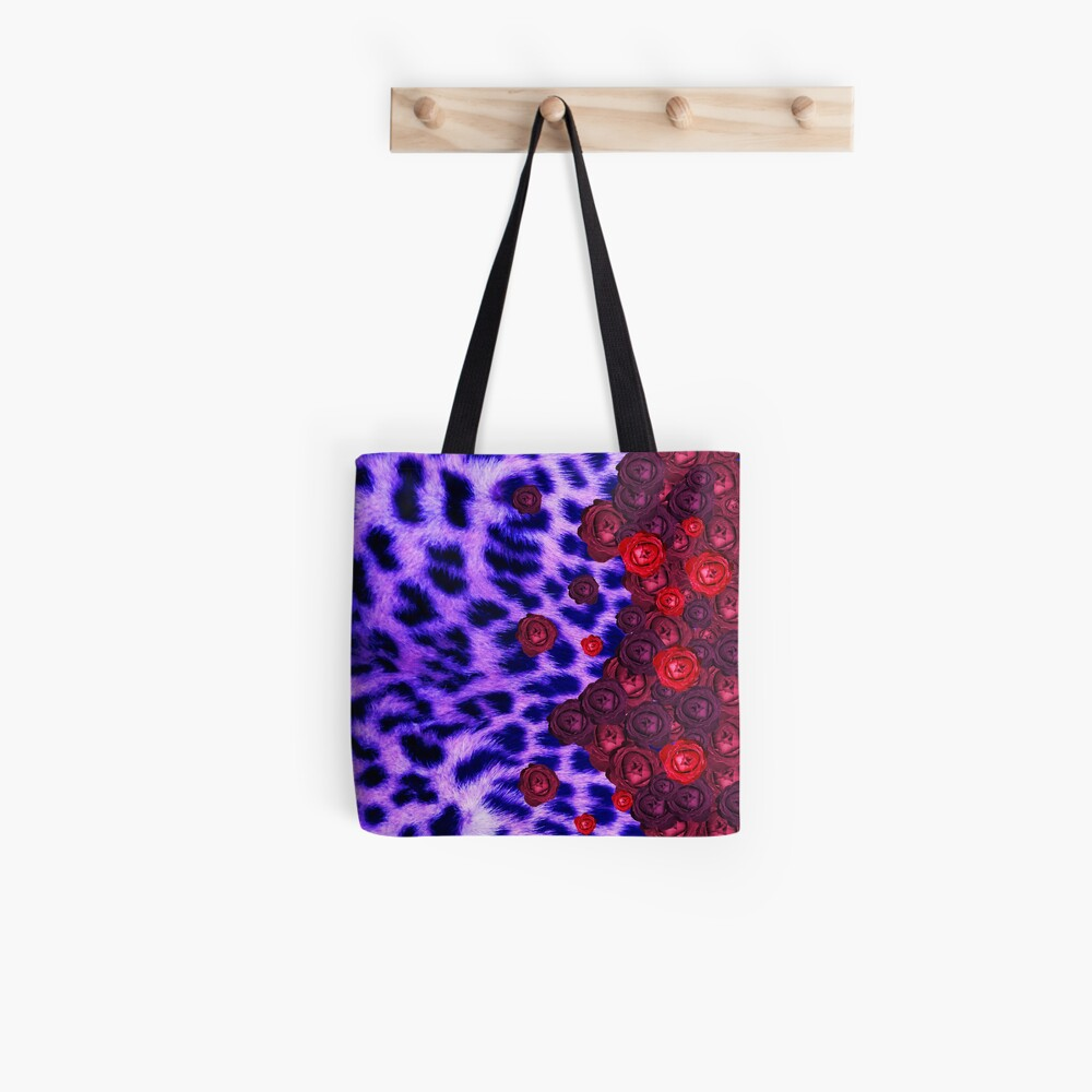 Deep blue leopard print and roses Tote Bag