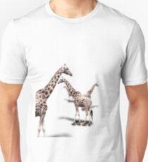 Giraffe on White Unisex T-Shirt