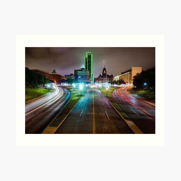 Dallas Texas Skyline Over Dealey Plaza Art Print