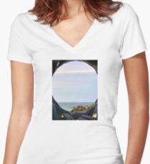 Currumbin Beach Queensland Australia Seaview Women's Fitted V-Neck T-Shirt