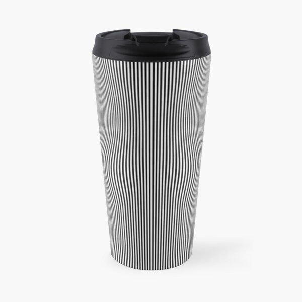 monochrome, parallel, abstract, pattern, design, art, vertical, gray, black and white, black color, textured, backgrounds Travel Mug