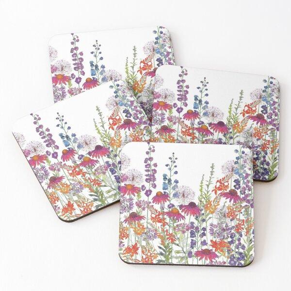 Flower Garden - Echinacea, Montbretia (Crocosmia), Delphiniums & Alliums Coasters (Set of 4)
