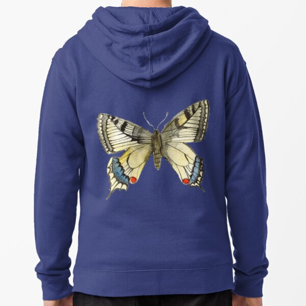 Swallow Tail Butterfly Zipped Hoodie
