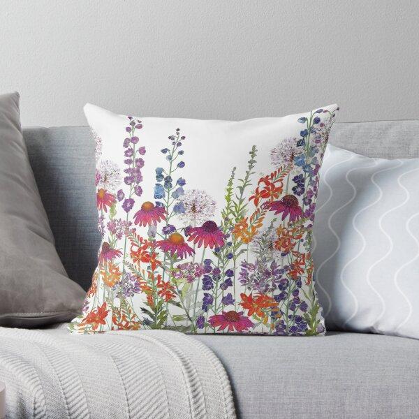 Flower Garden - Echinacea, Montbretia (Crocosmia), Delphiniums & Alliums Throw Pillow