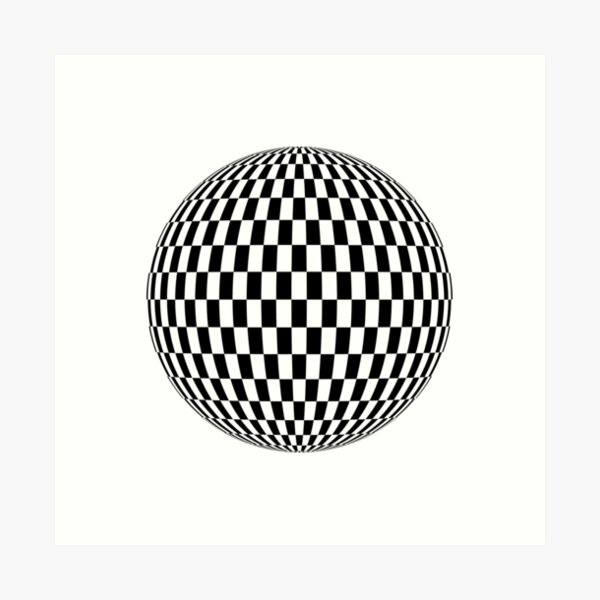Mathematics, Sphere, illustration, design, ball, vector, shape, black and white, monochrome Art Print