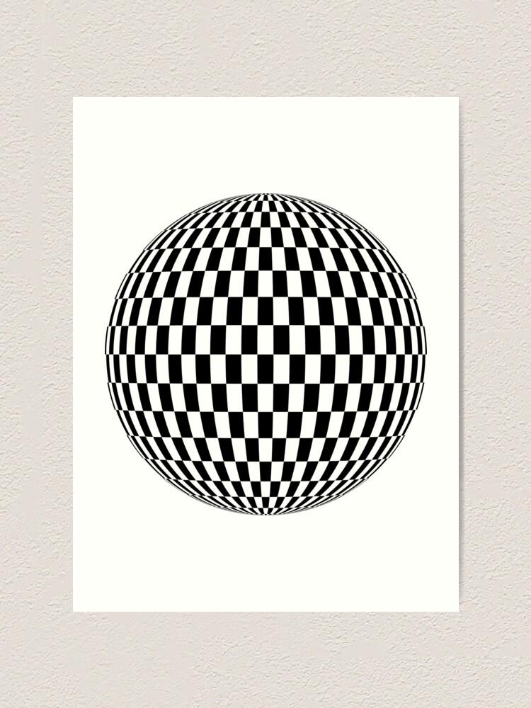 Alternate view of Sphere, illustration, design, ball, vector, shape, black and white, monochrome Art Print