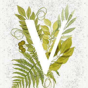 Monograma de la letra V con helecho verde acuarela y hojas de helga-wigandt