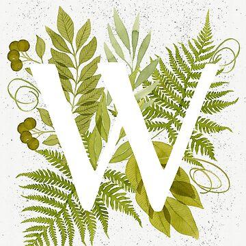 Monograma de la letra W con helecho verde acuarela y hojas de helga-wigandt