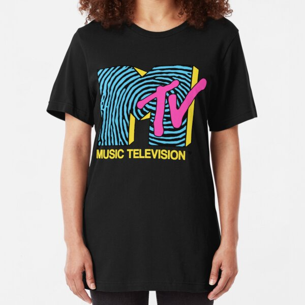 MTV - fingerprint 80s design Slim Fit T-Shirt