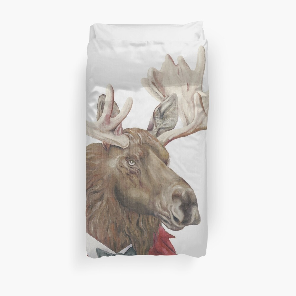 Moose in Leather Duvet Cover