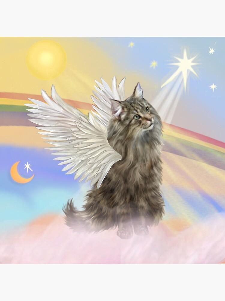 Heavens Clouds - Norwegian Forest Cat Angel by JeanBFitzgerald
