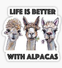 Life is Better with Alpacas Art, Alpaca Shirts and Alpaca Art Sticker