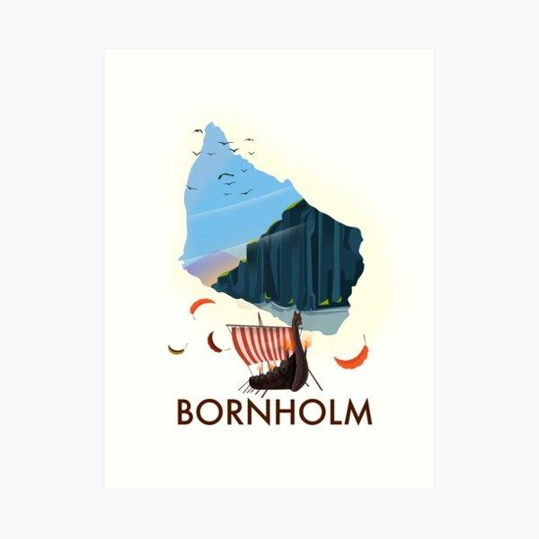 Bornholm travel poster map Art Print