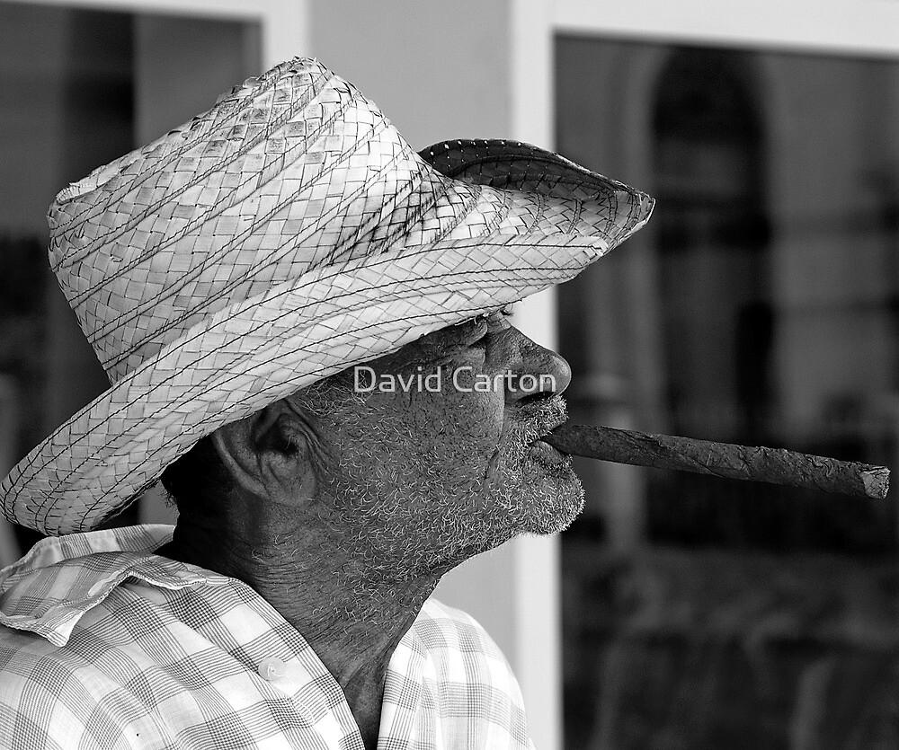 Old Cuban smoking large Cigar by David Carton