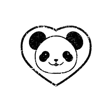 Rubber Stamped Panda Bear And Heart by Almdrs