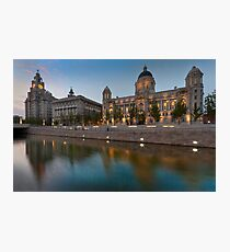 Reflections of the three graces at dusk, Liverpool Photographic Print