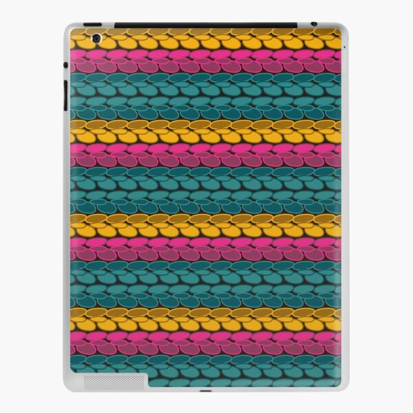 Pseudo crochet pattern with pink and teal iPad Skin
