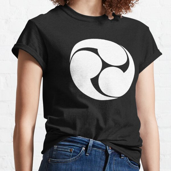 Tomoe. Japan, Japanese, Shinto symbol, Plain & Simple, White on Black. Classic T-Shirt