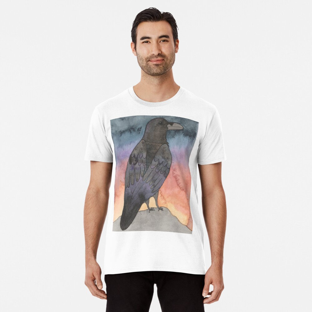 Rabe bei Sonnenuntergang Premium T-Shirt
