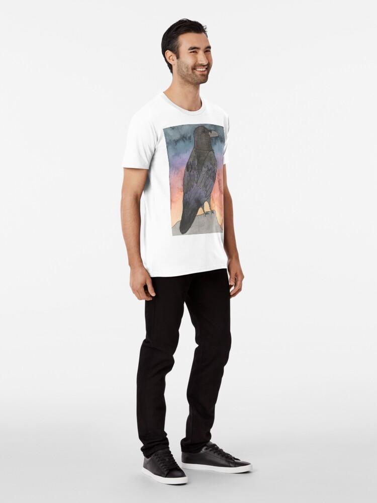 Alternative Ansicht von Rabe bei Sonnenuntergang Premium T-Shirt
