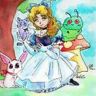 Alice dreams with Cheshire Cat, White Rabbit, and Caterpillar by Michele Hawley