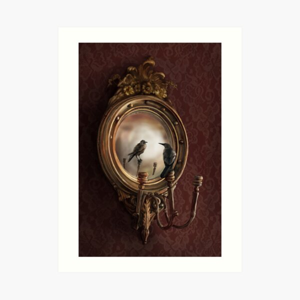 Reflection on Perception - An illustration of a crow in a mirror by Brooke Figer Art Print