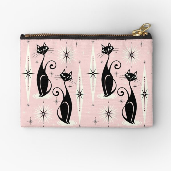 Mid Century Meow Retro Atomic Cats  Zipper Pouch