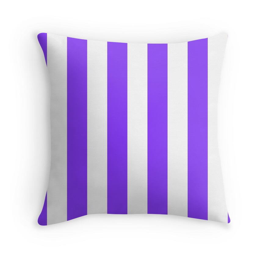 Aztech Purple and White Vertical Cabana Tent Stripes