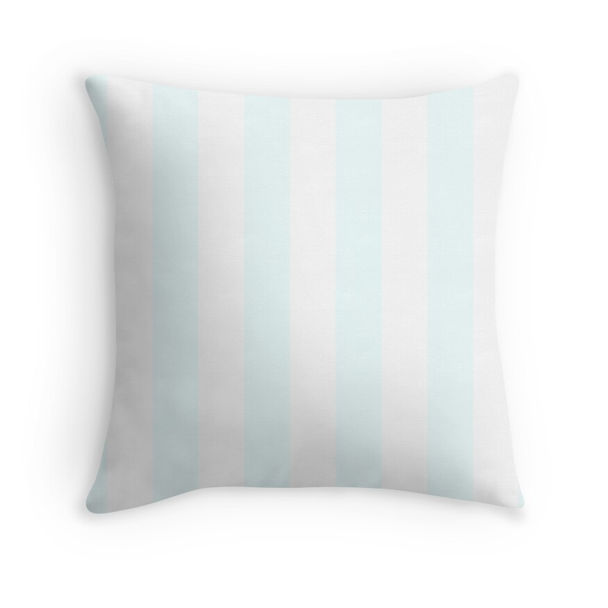 Pale Azure and White Vertical Cabana Tent Stripes