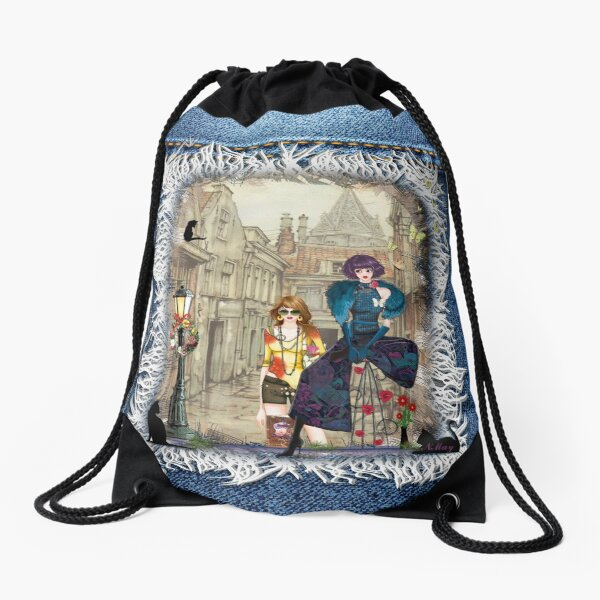 High fashion in front of Anton Pieck's painting. Drawstring Bag