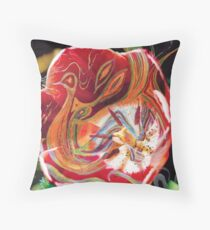dominant red tones abstract Floor Pillow