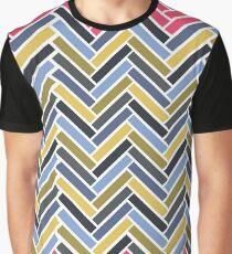 Camiseta gráfica Patrón geométrico en espiga multicolor