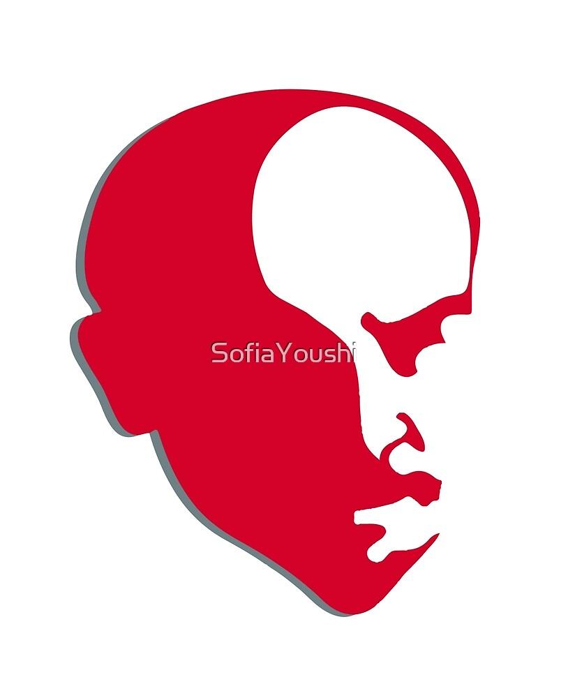 Red Vladimir Ilich Lenin stencil silhuette by SofiaYoushi