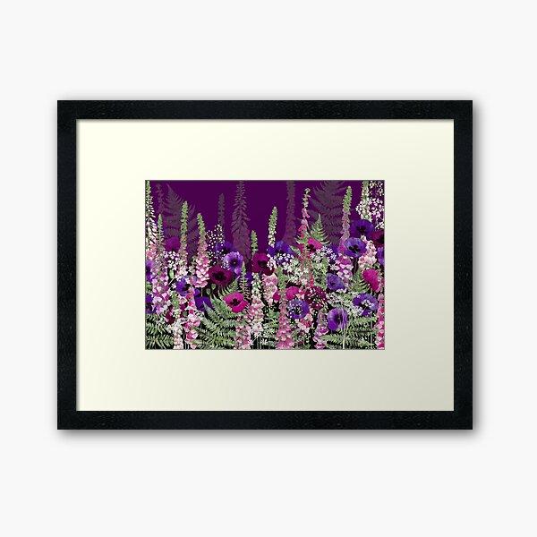 Flower Garden - Purple Poppies, Pink Foxgloves, Ferns Framed Art Print