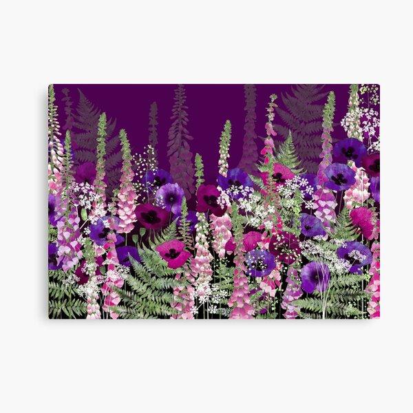 Flower Garden - Purple Poppies, Pink Foxgloves, Ferns Canvas Print