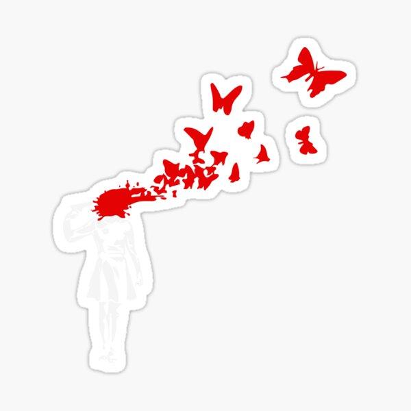 Banksy - Girl Shooting Her Head With Butterfly Design, Streetart Street Art, Grafitti, Artwork, Design For Men, Women Sticker