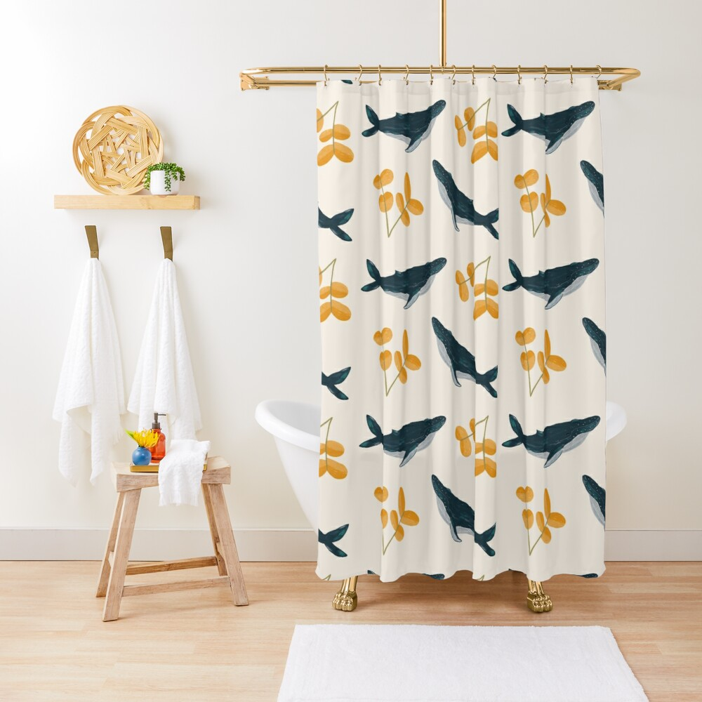Happy Whales and Florals Pattern Shower Curtain