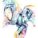 Elephant Mom and Baby Painting - Colorful Watercolor Painting by Whitehouse Art by Lisa Whitehouse