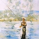 Fly fishing Snowy River by Christine Lacreole