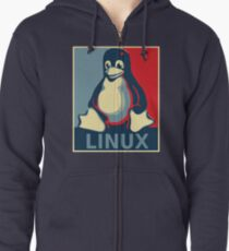 Linux tux penguin obama poster Zipped Hoodie