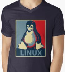 Linux tux penguin obama poster Men's V-Neck T-Shirt