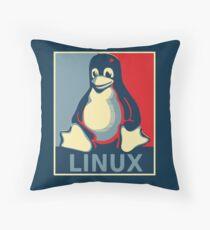 Linux tux penguin obama poster Throw Pillow