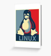 Linux tux penguin obama poster Greeting Card
